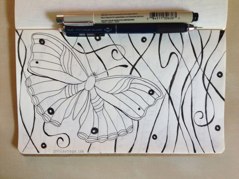 sketchbook page wood nymph butterfly