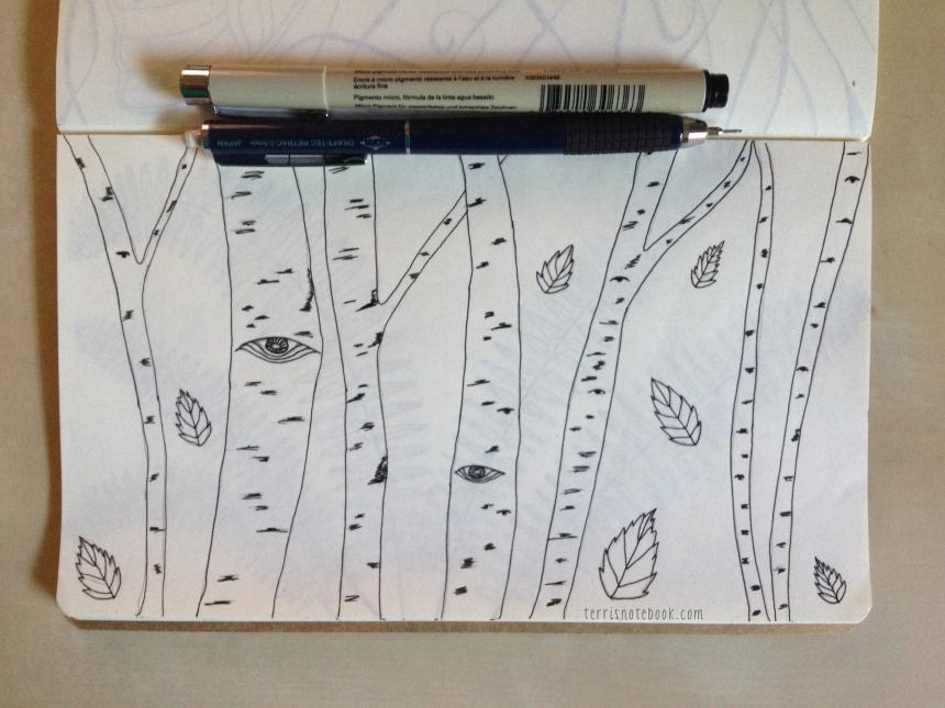 sketchbook page birch eyes