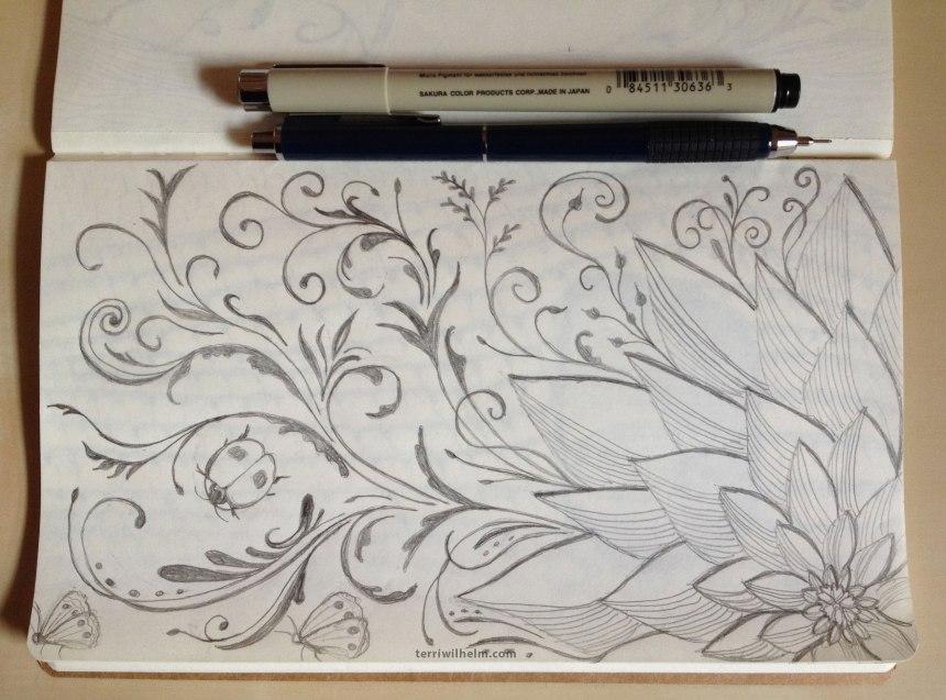 sketchbook page flourish to flower