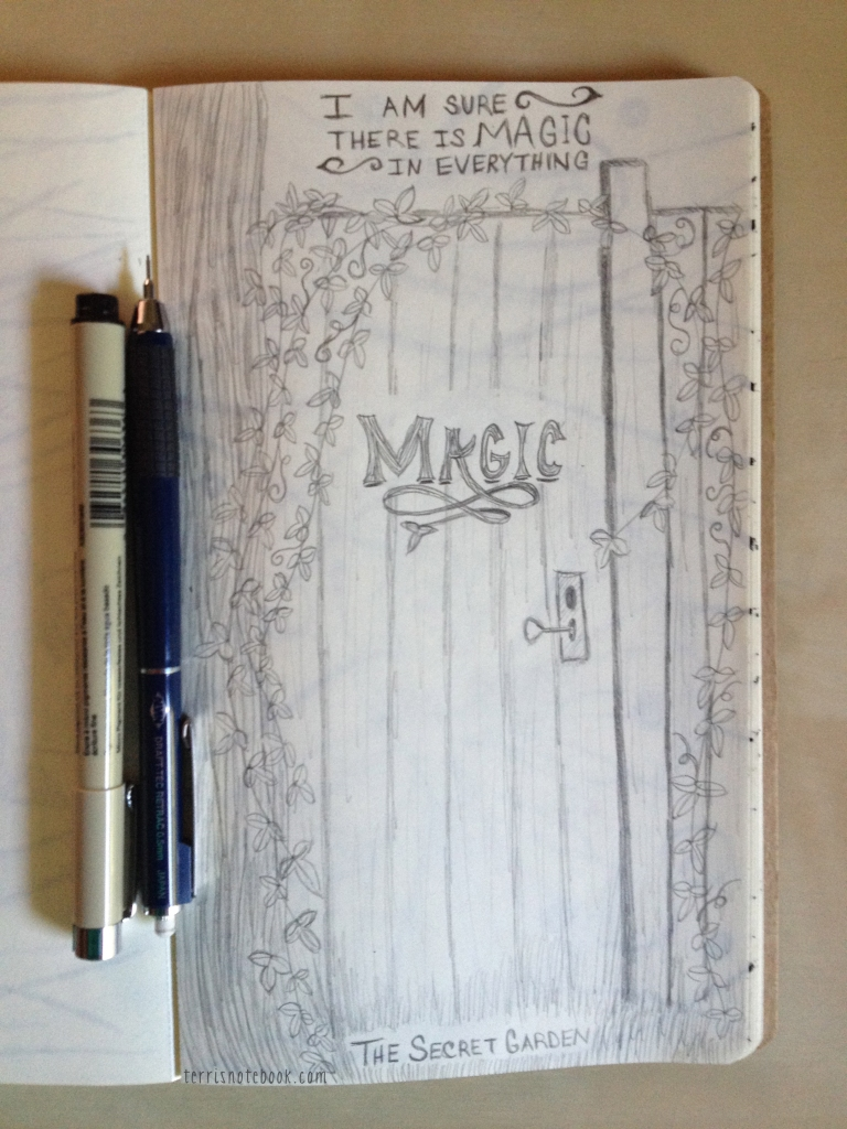 sketchbook secret garden gate