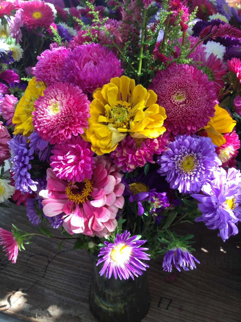 bouquets at the market