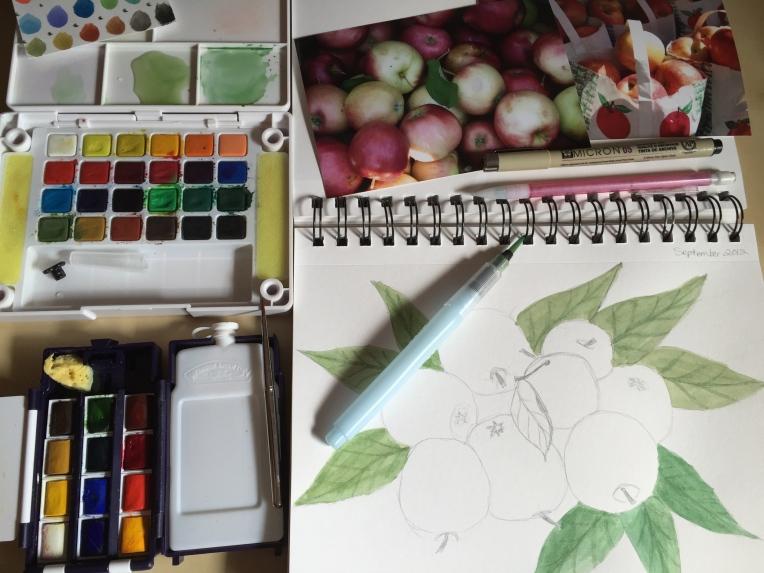 sketchbook page apples