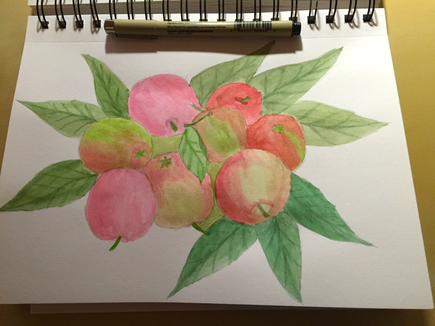 sketchbook page apples