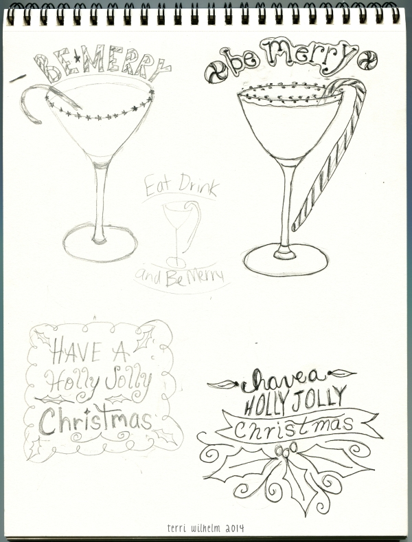 Christmas sketchbook page