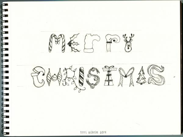 Christmas sketchbook page