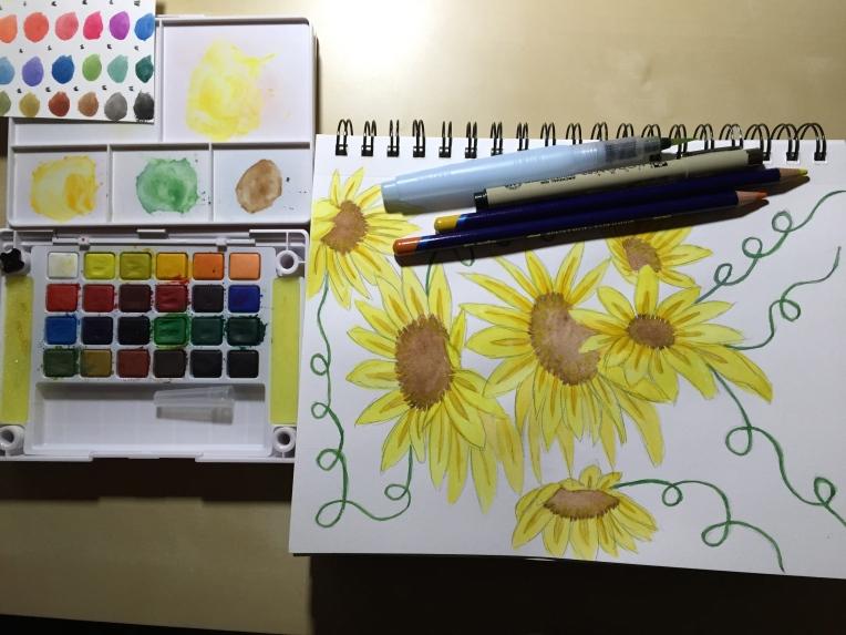 sketchbook sunflower illustration