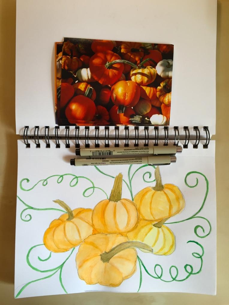 sketchbook pumpkin illustration