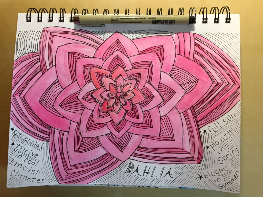 watercolor sketchbook dahlia