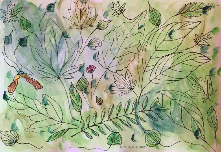 sketchbook painting forest floor