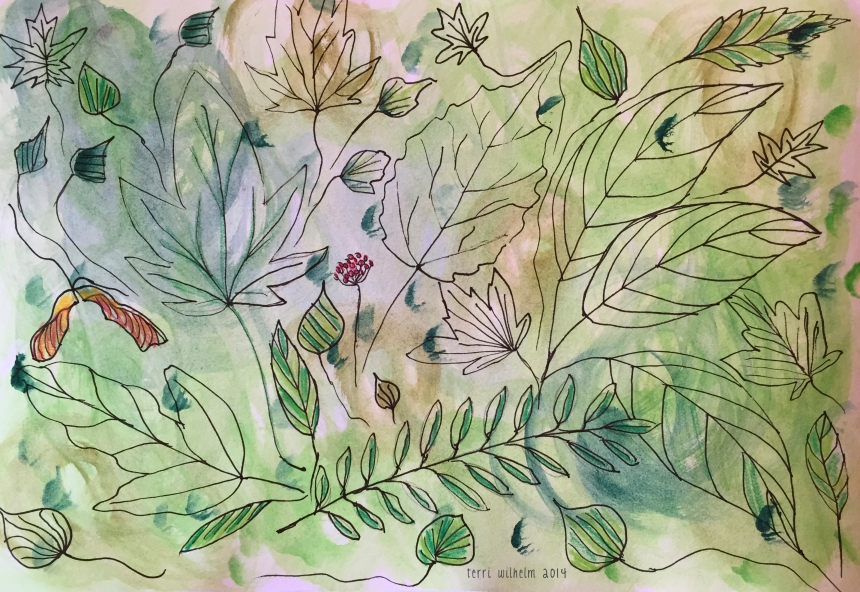 sketchbook painting forest floor