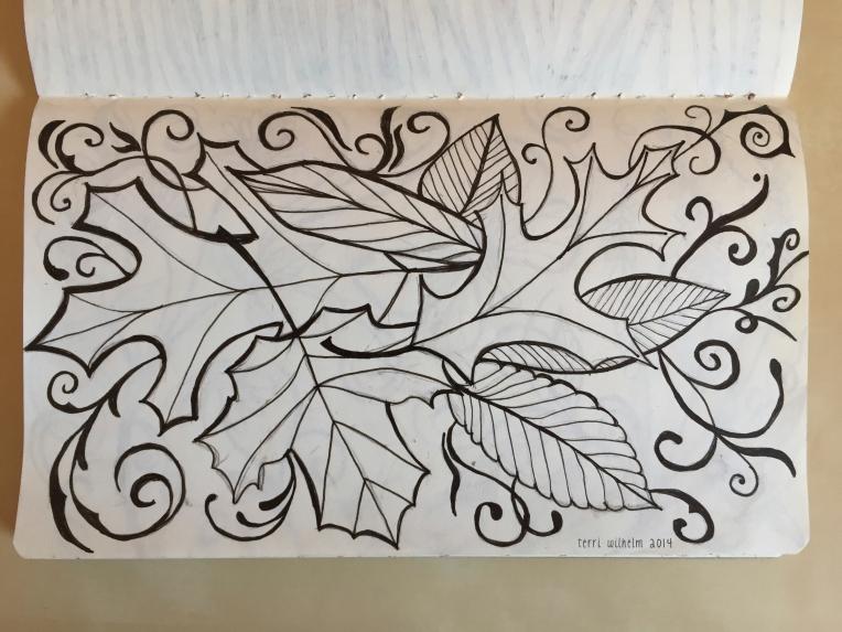 sketchbook forest floor drawing