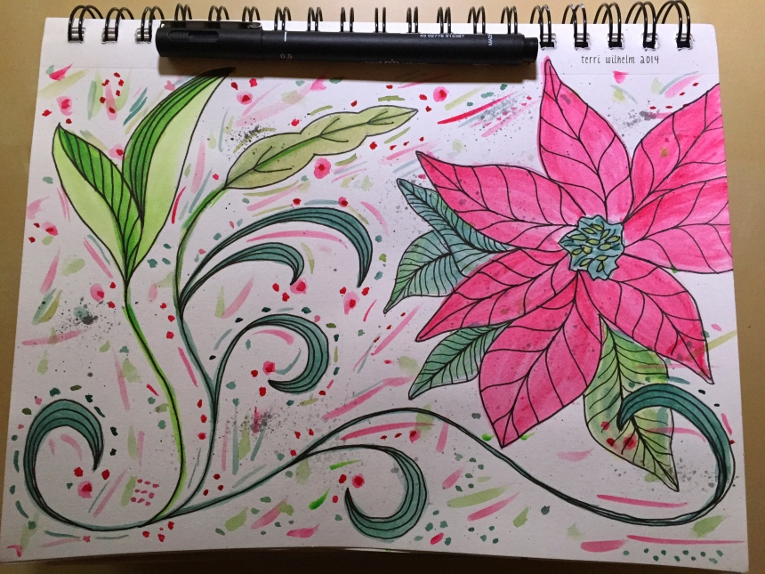 sketchbook page of vines and pointsettia