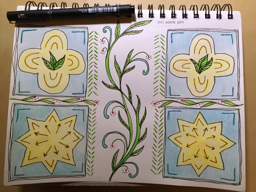 sketchbook page of tiles and vines