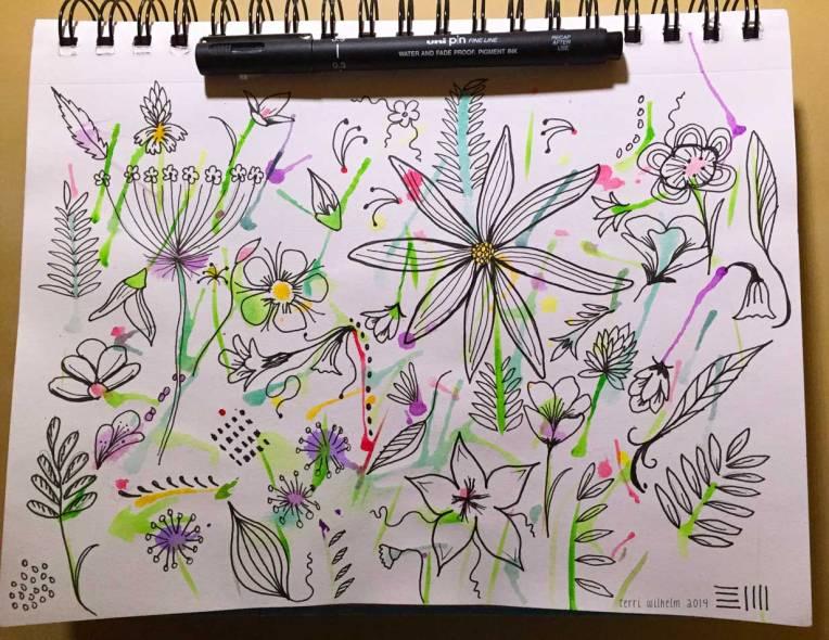 sketchbook wildflowers with pen