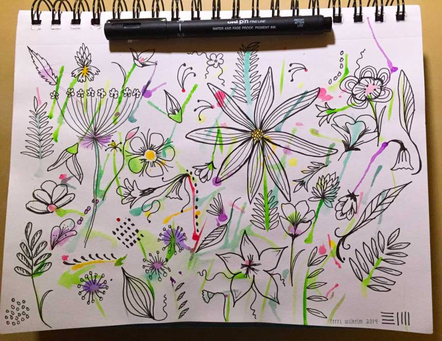 sketchbook wildflowers with pen