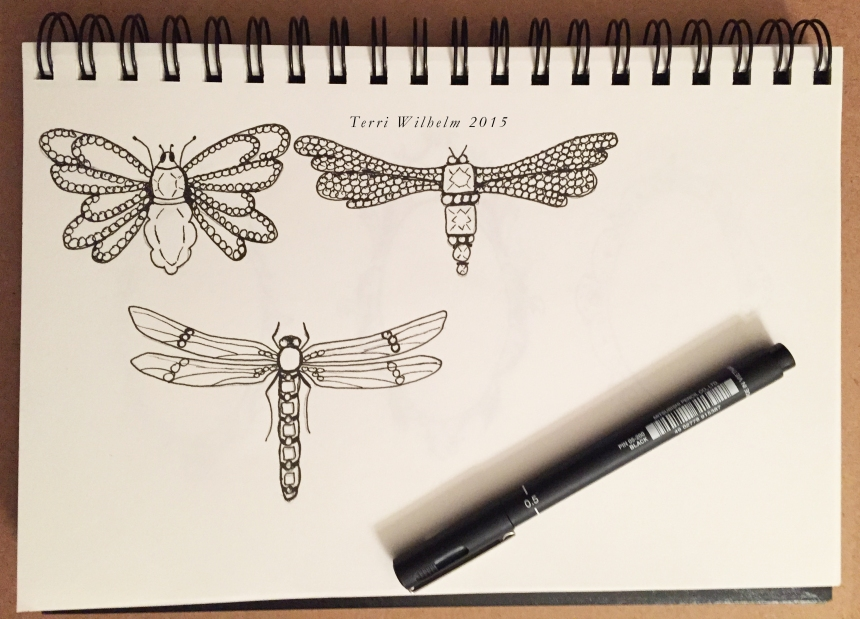 sketchbook insect brooches