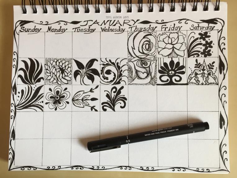 sketchbook page for january 2015 doodles
