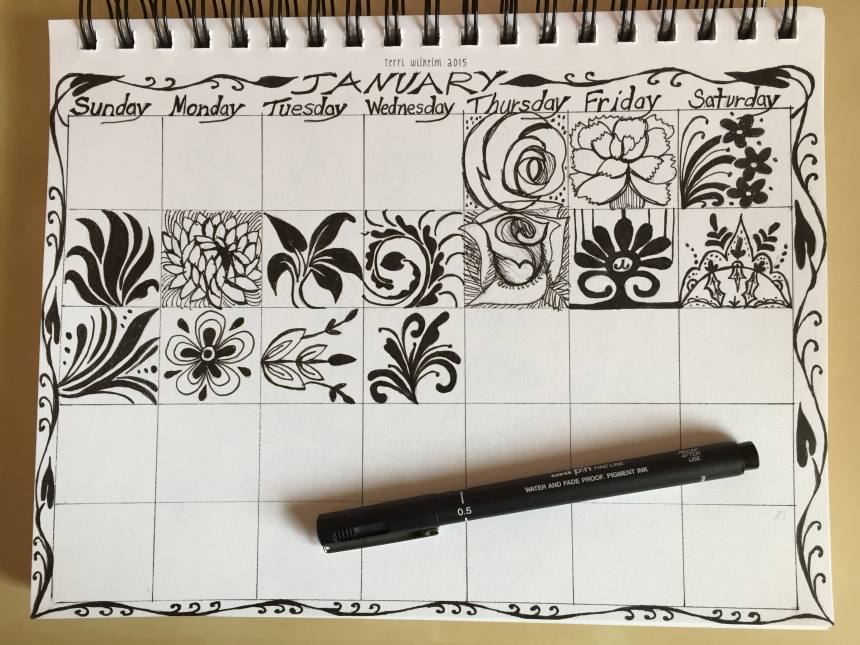 sketchbook page for january 2015 doodles