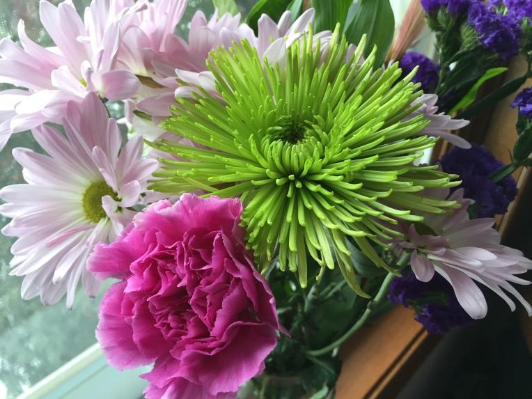 pink green purple flowers
