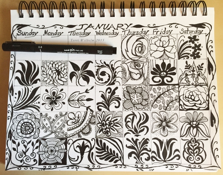 sketchbook page january doodles