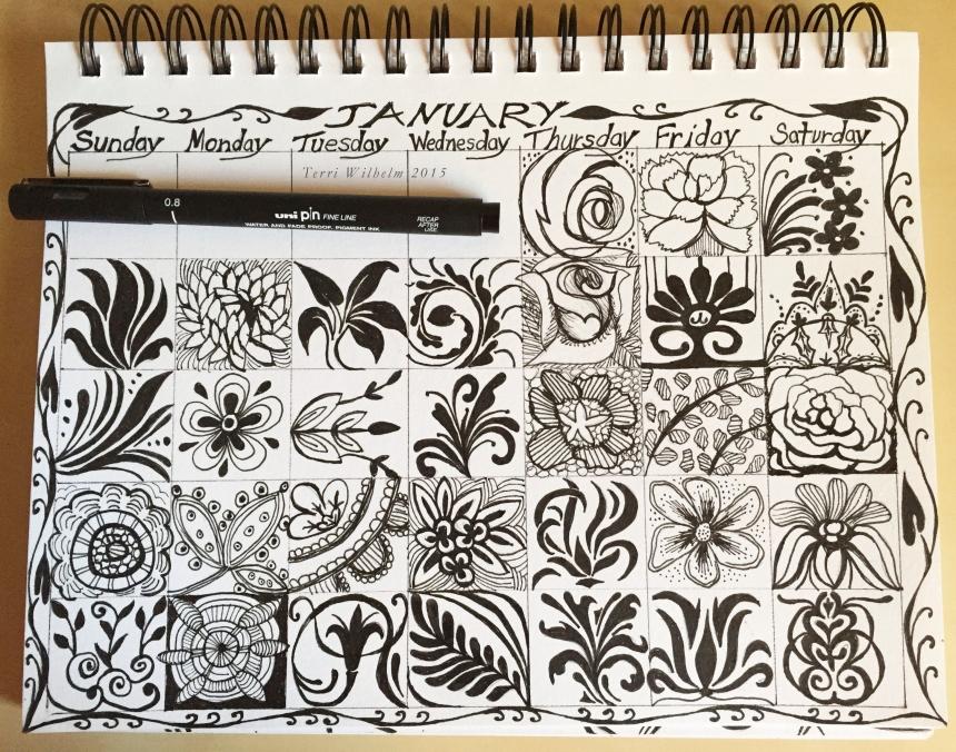 sketchbook page january doodles