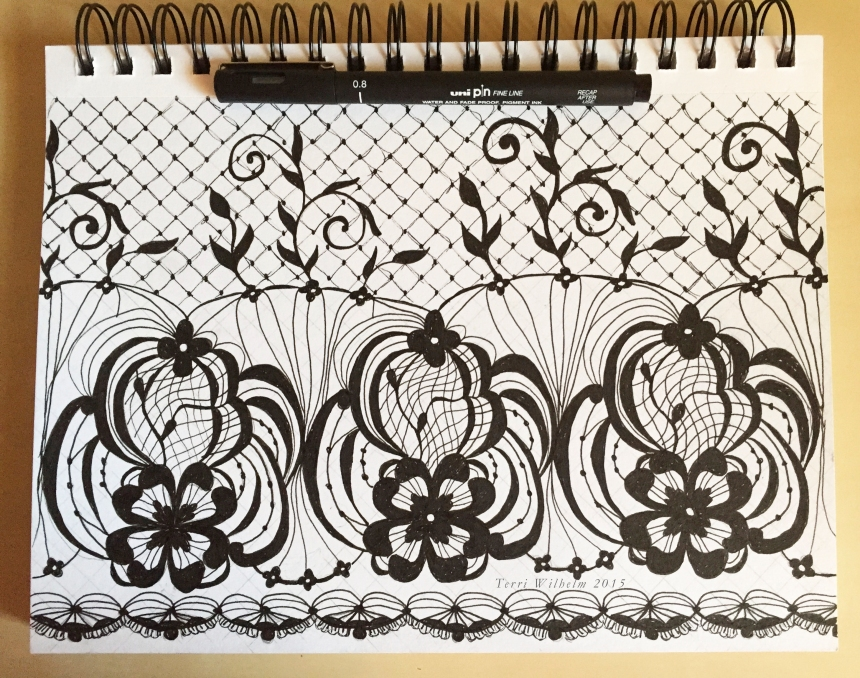 sketchbook page of lace
