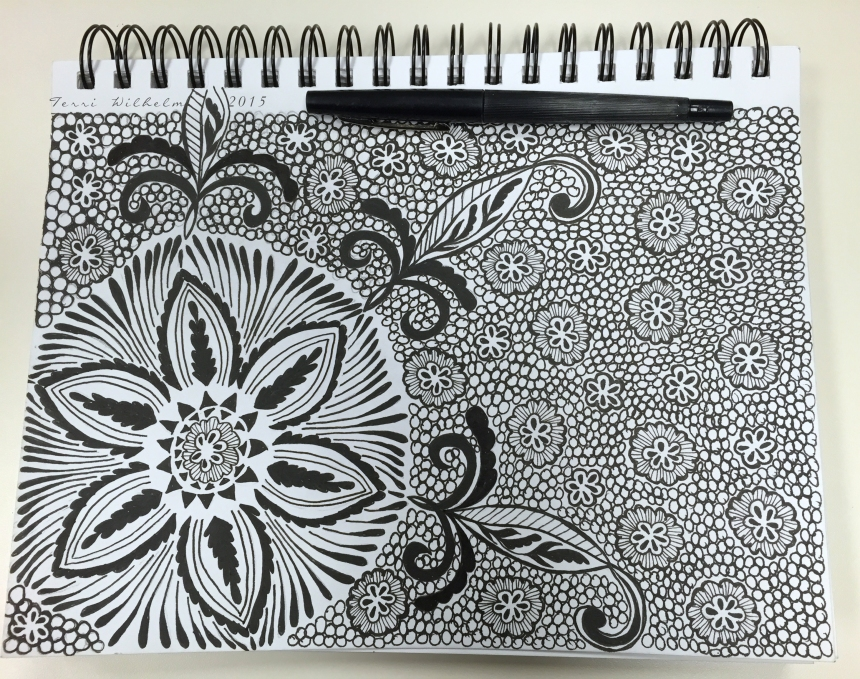 sketchbook page all over pattern