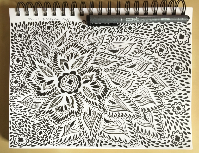 sketchbook page lace flower pattern