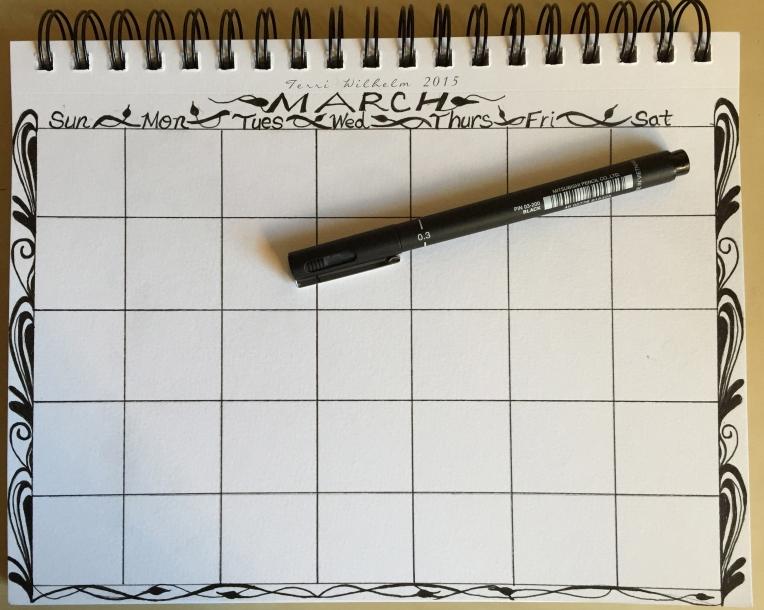 sketchbook page Marchdoodles