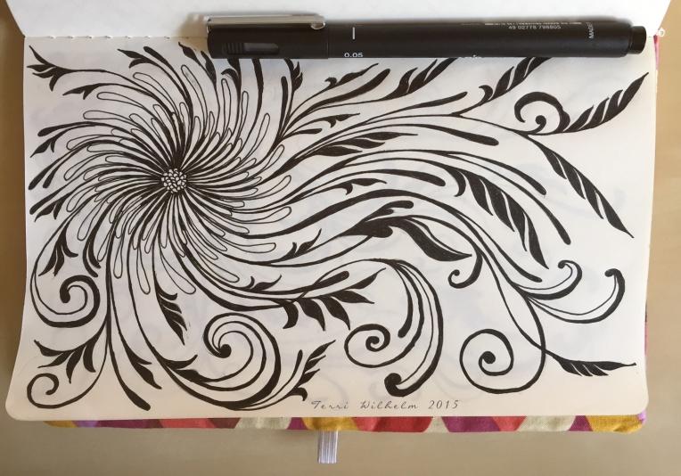 sketchbook page spiraling daisy pom
