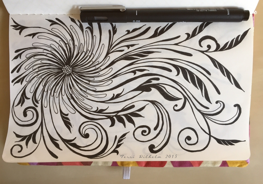 sketchbook page spiraling daisy pom