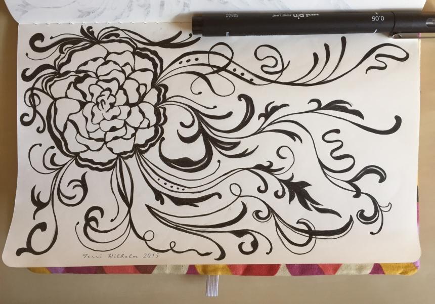 sketchbook page wavy carnation vines
