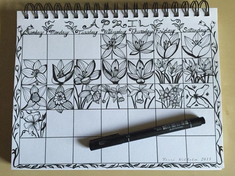 sketchbook page April doodles so far