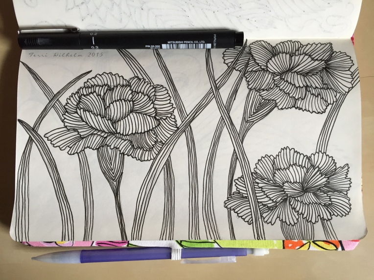 sketchbook page carnations and leaves
