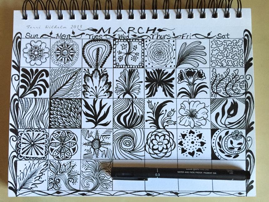 sketchbook page of March doodles