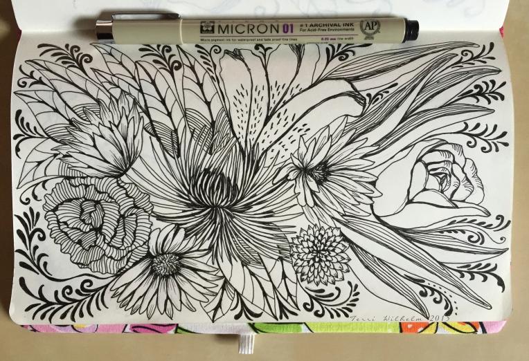 sketchbook page fresh cut flowers