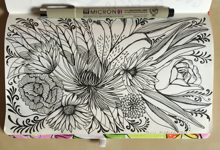 sketchbook page fresh cut flowers