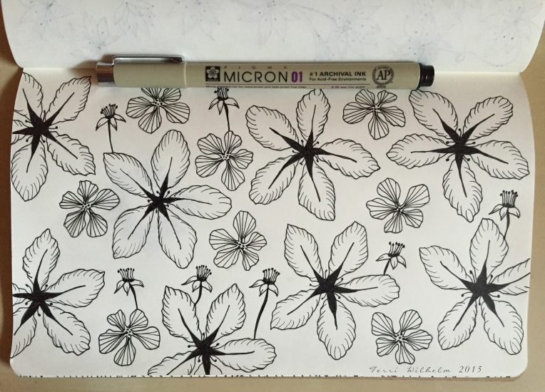 sketchbook page of crab apple blossoms