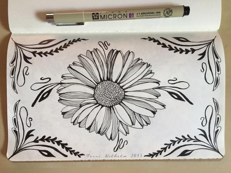 sketchbook page framed daisy