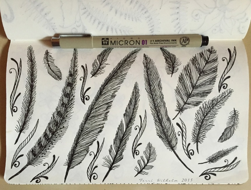 sketchbook page of feathers