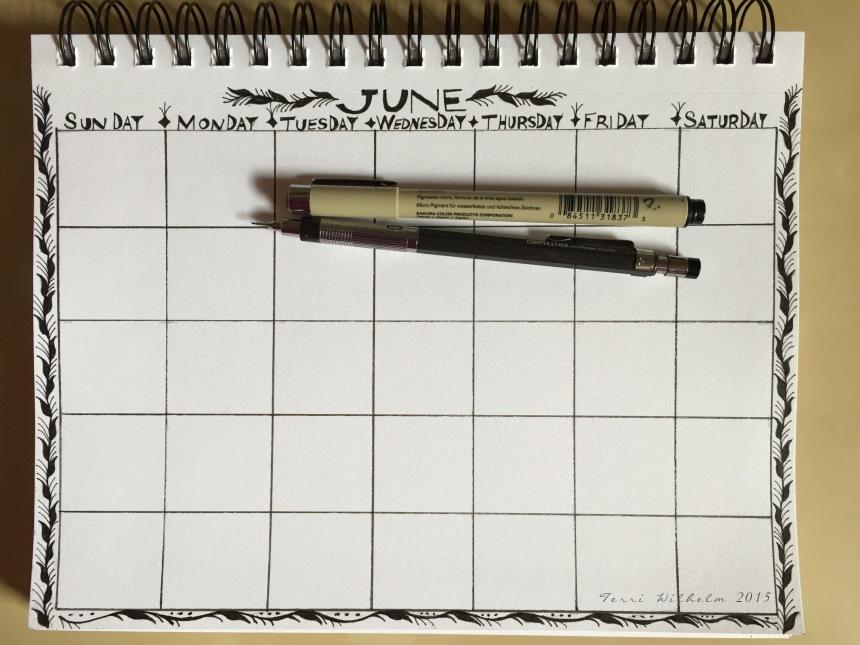 sketchbook page ready for June doodles