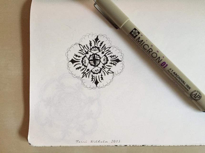 sketchbook doodle lace medallion