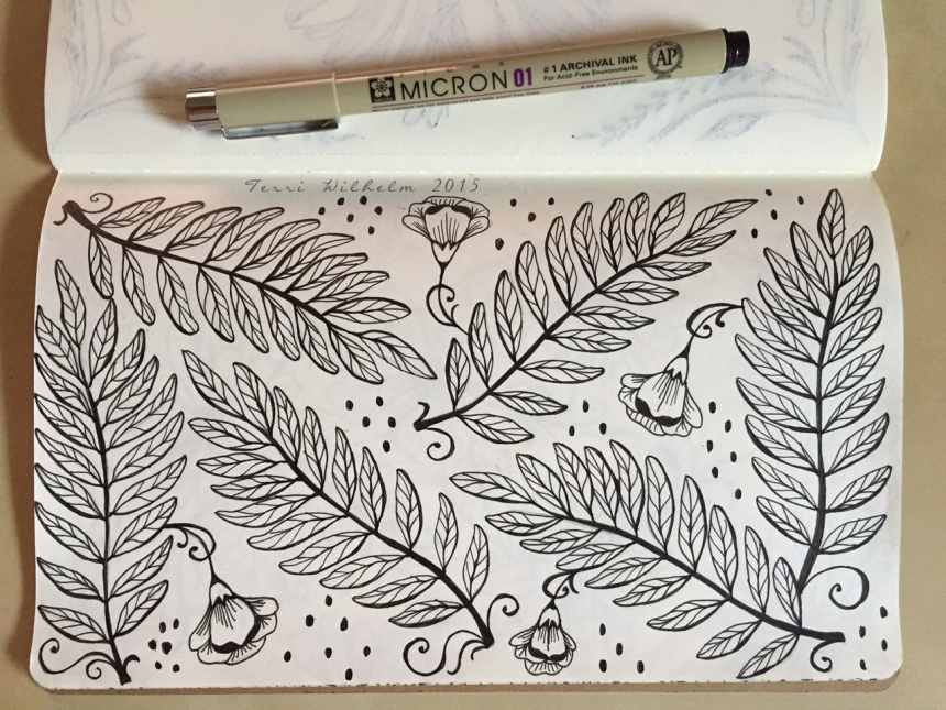 sketchbook page locust fronds