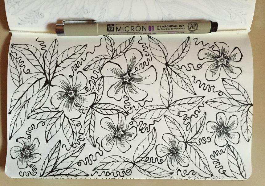 sketchbook page of vinca vines