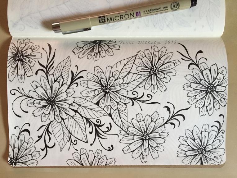 sketchbook page zinnias