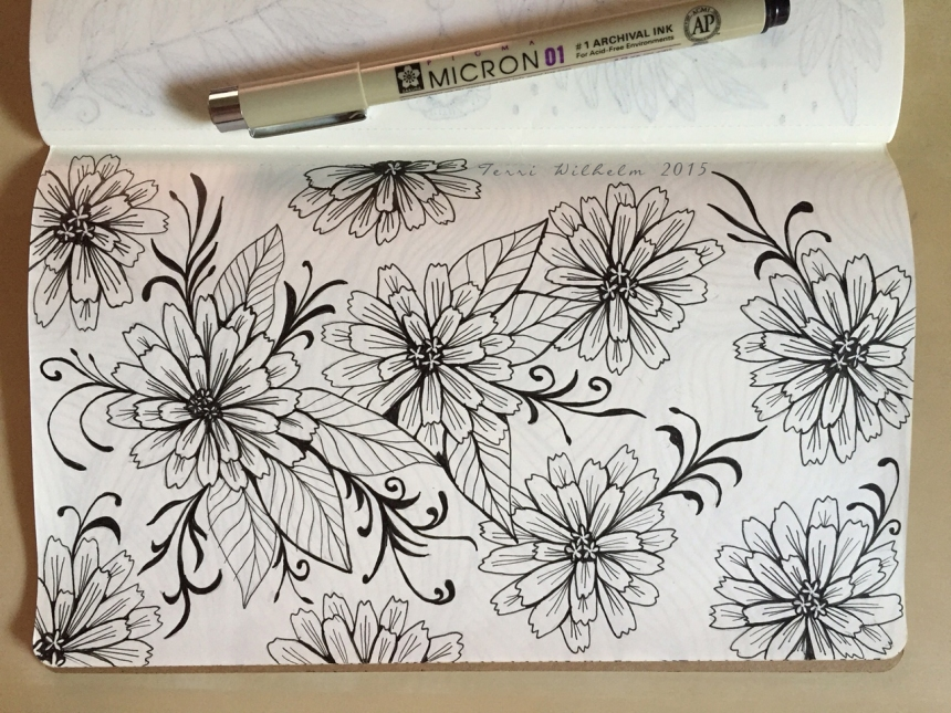 sketchbook page zinnias