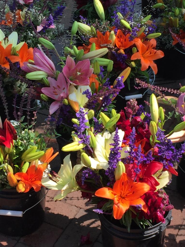farmers market buckets of flowers