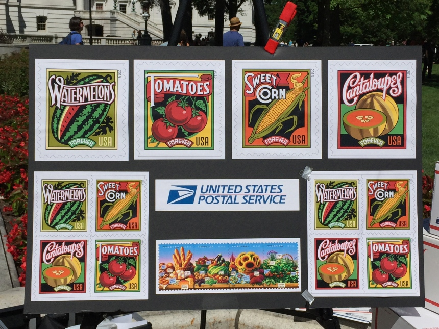 post office display at farmers market
