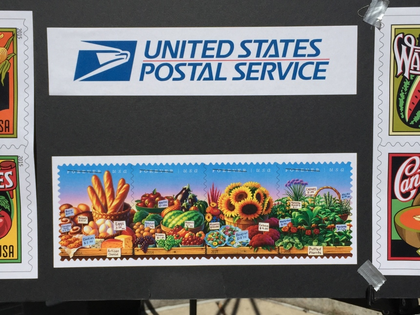 post office artwork at farmers market