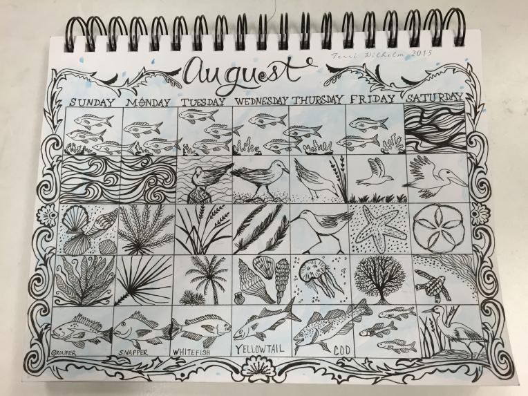 sketchbook page of august doodles